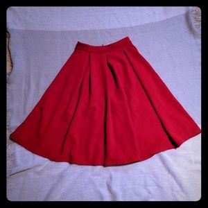 Red French High Waist Skirt